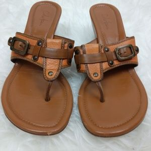 Cole Haan Leather Sandals Wedge Burnt Orange